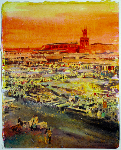 Marrakech Watercolour Alan Reed