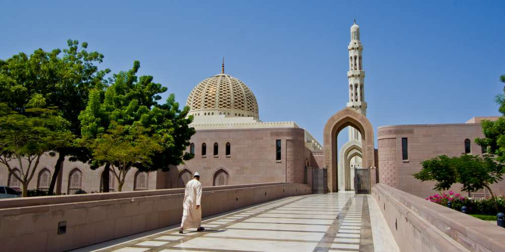 Main entrance of Sultan Qaboos Grand Mosque, Muscat