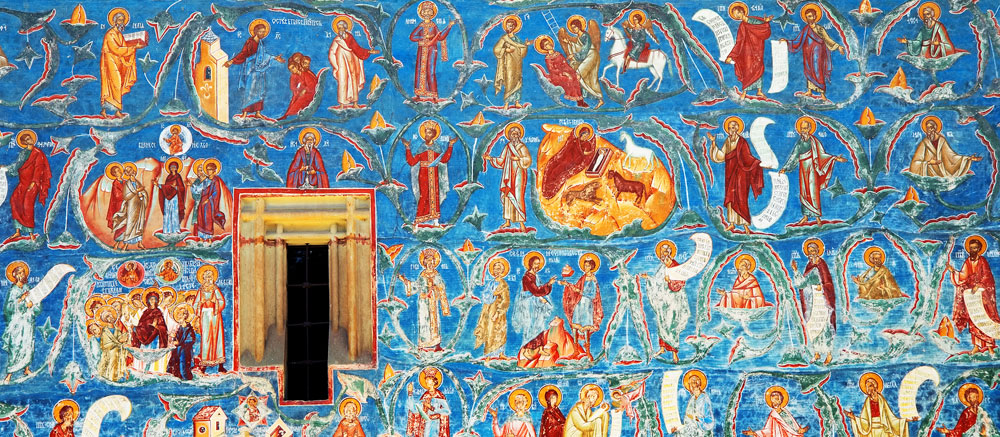 Painted-wall-of-Voronet-Monastery-Gura-Humorului-Romania