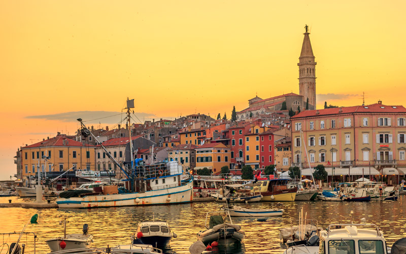 Rovinj city skyline in Croatia
