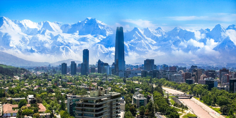 Santiago with the Andes in the background