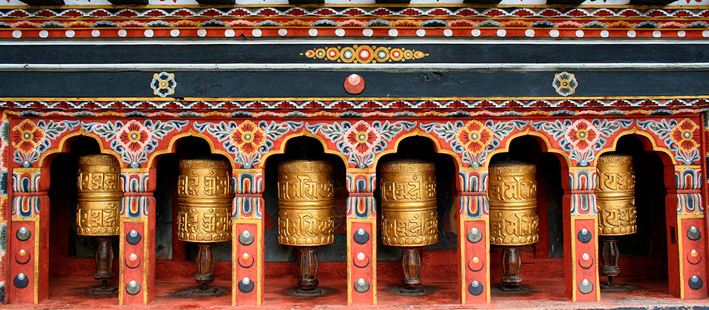 Prayer wheels in Thimphu