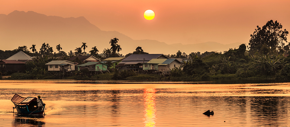Sunset along the river in Kuching