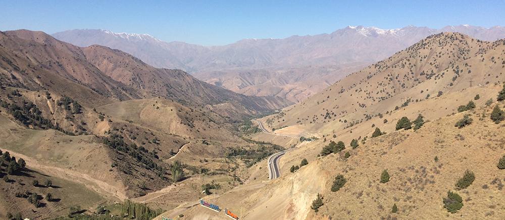 View from the top of the Kamchik Pass, en route to Fergana Valley
