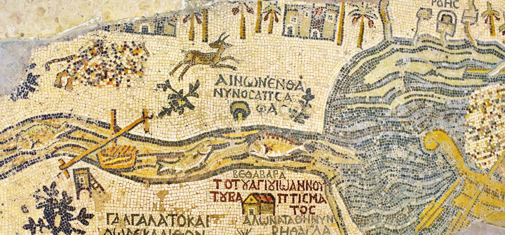 Fragment of the oldest floor mosaic map of the Holy Land, Madaba, Jordan