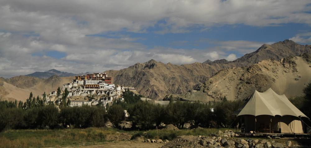 Luxury tent with view to Thiksey monastery in Ladakh