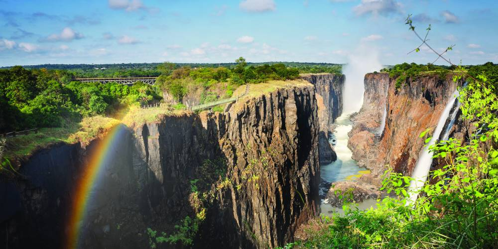 Victoria Falls, Zambia, with a rainbow