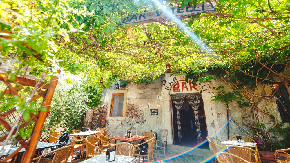 Bar Vitelli where The Godfather was filmed, in Savoca, Sicily, Italy