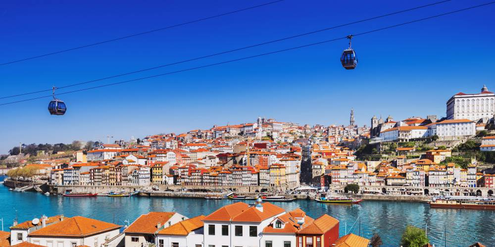 Porto, Portugal old town on the Douro river and cable car