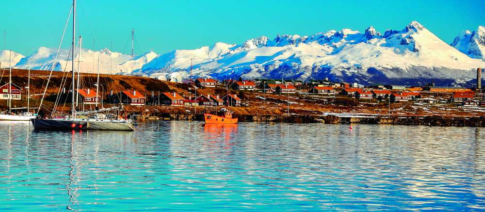 Ushuaia and mountains seen from the Beagle Channel, Tierra del Fuego,