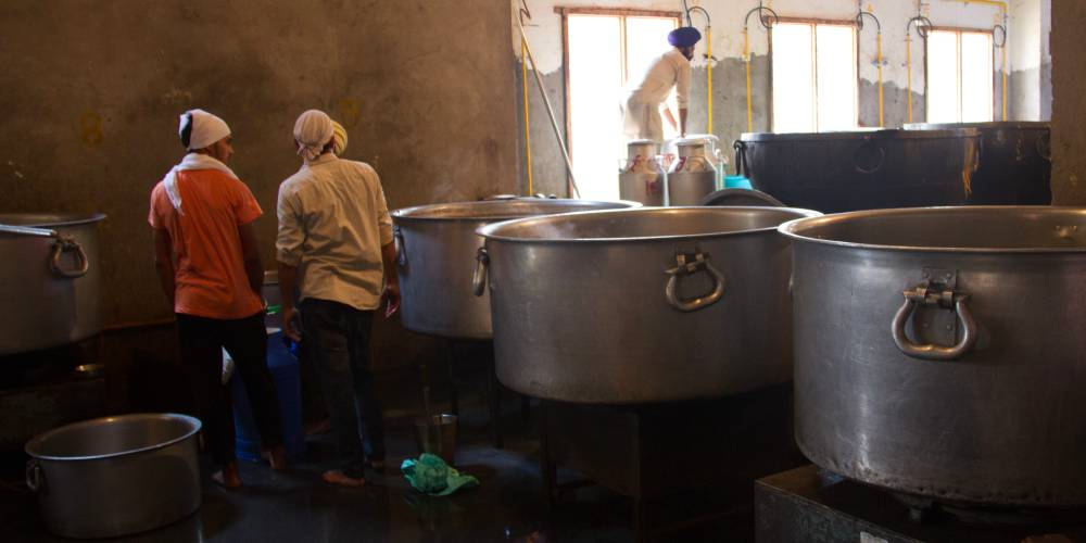 Langar hall in the Golden Temple, Amritsar, India