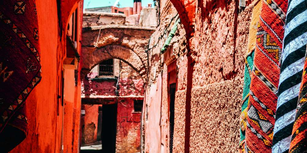 Colourful street in the medina, Marrakech