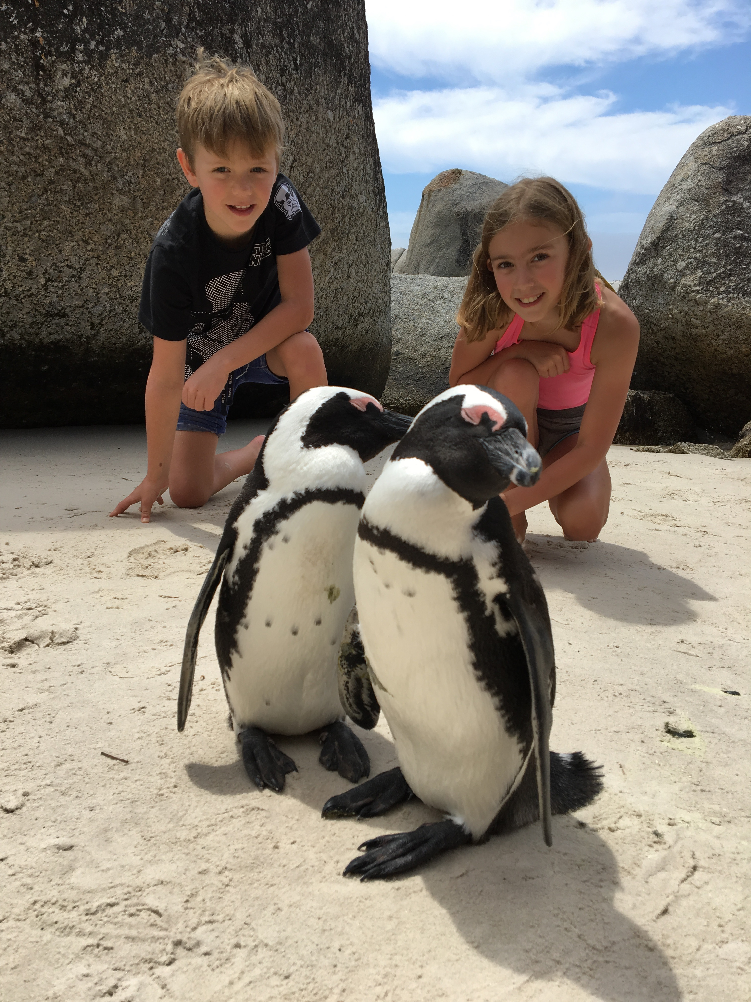 The kids with penguins