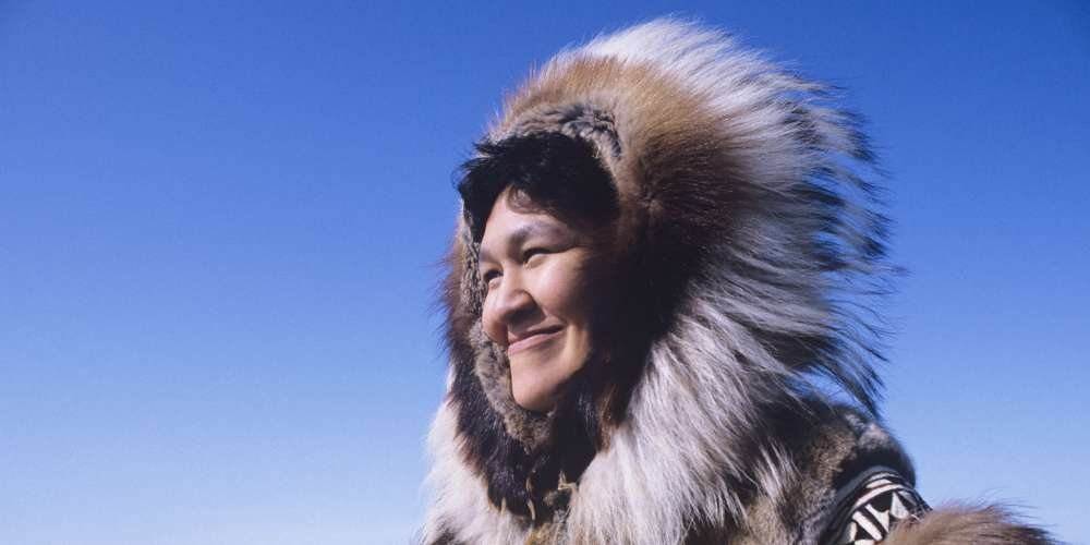An inuit lady smiling