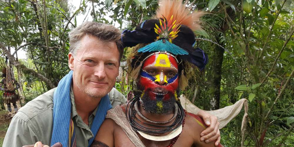 Benedict with friend Howard from the Hewa people