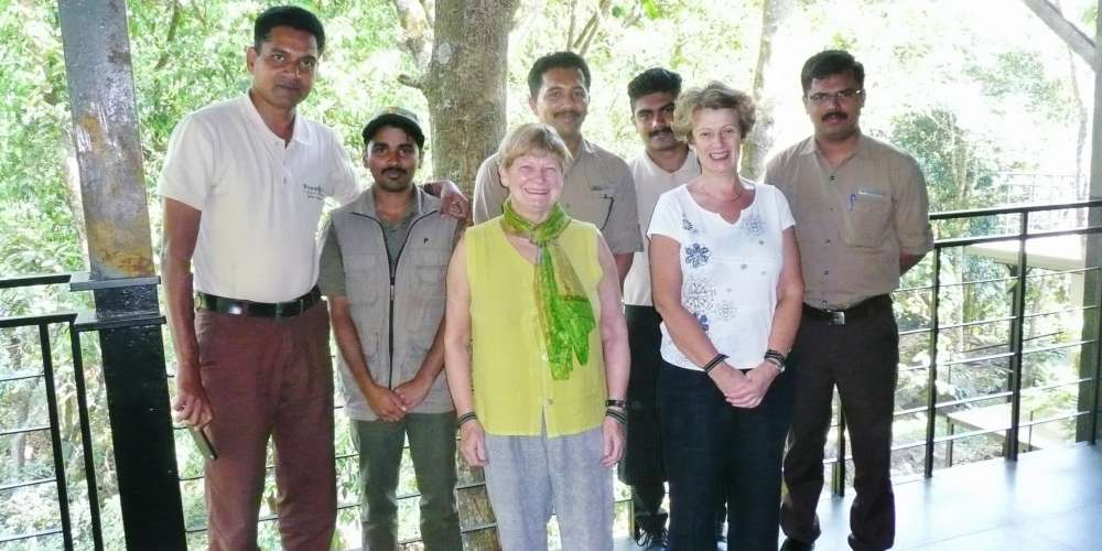 With hotel staff at Wayanand Wild Lodge