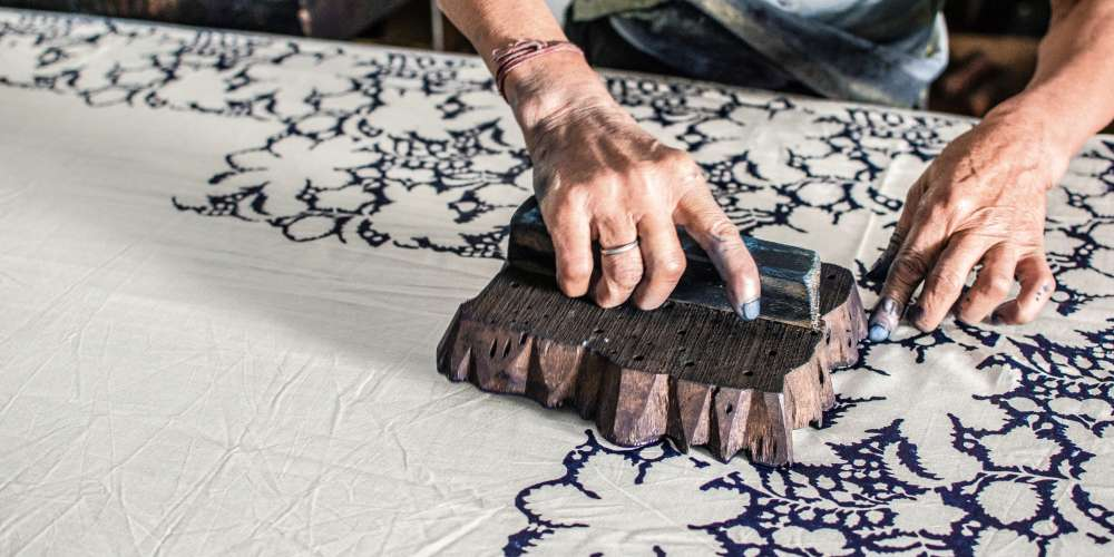 Block printing on fabric, Rajasthan