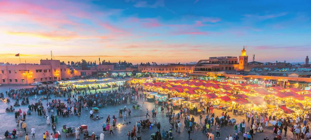 Djemaa El Fna Square with Koutoubia Mosque, Marrakech