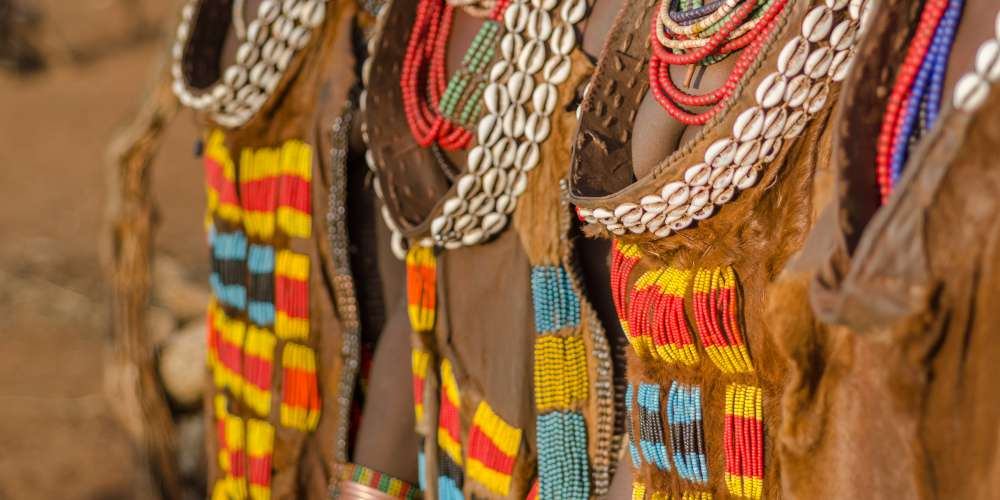 Traditional women's dress from the Hamer tribe, Omo valley