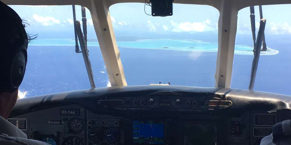 View from the plane of Aitutaki