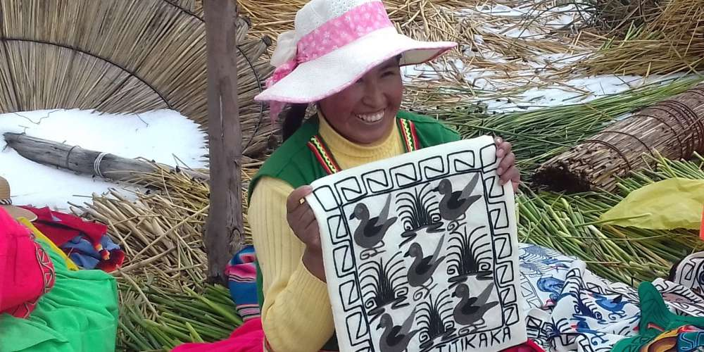 Embroidery on Lake Titicaca