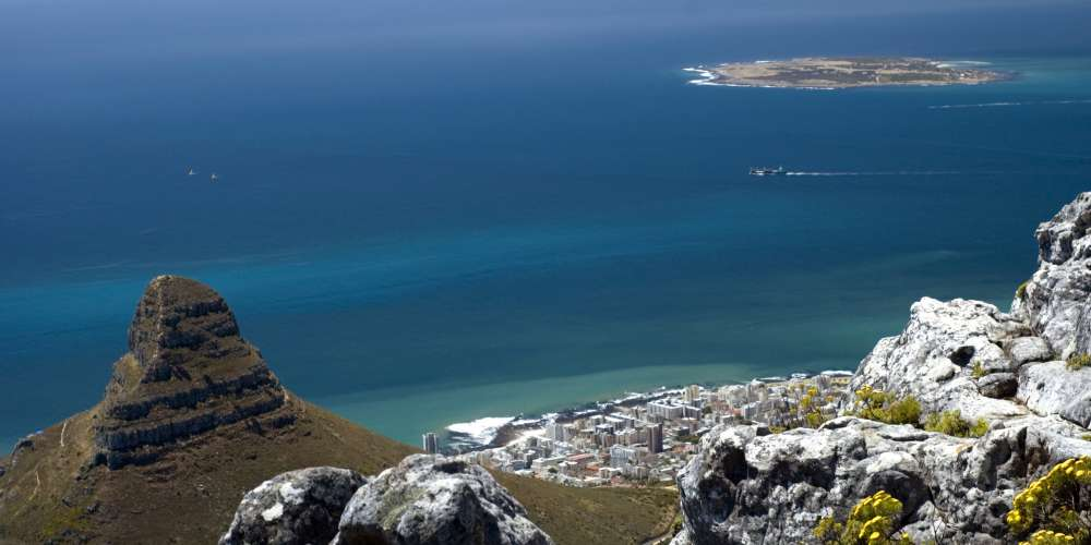 View of Robben Island and Cape Town
