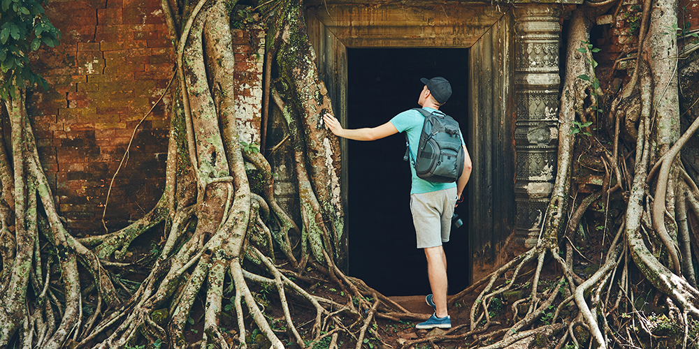 Viewing temples in Cambodia