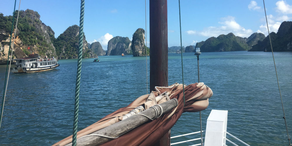 View from our junk boat, Halong Bay, Vietnam