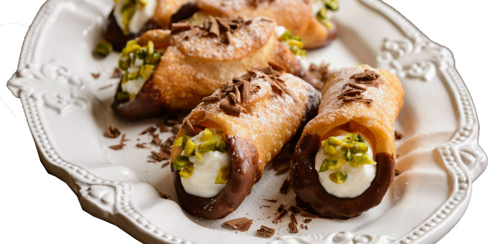 Plate of cannoli, Palermo, Sicily, Italy