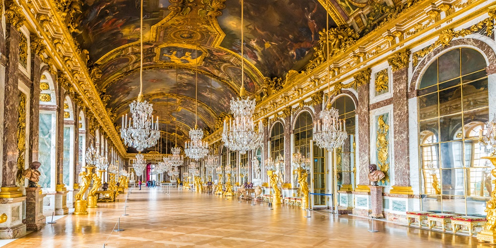 The Hall of Mirrors (Galerie des Glaces) of the Royal Palace of Versailles