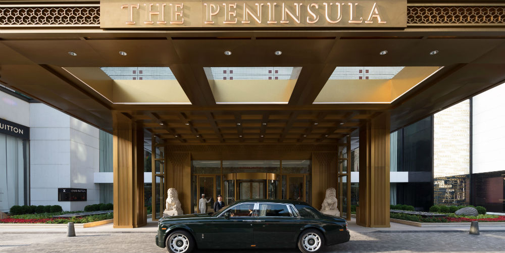 Entrance and Rolls-Royce at The Peninsula Beijing, China