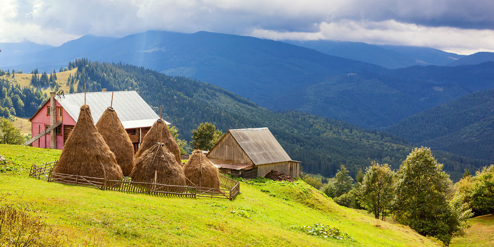 Haystacks in the Carpathian mountains, Ukraine