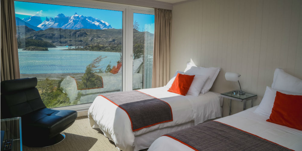 Twin room, Hotel Lago Grey, Torres del Paine National Park, Chile