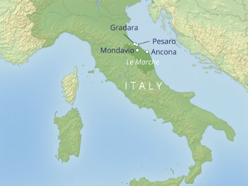 Map of Le Marche, Italy