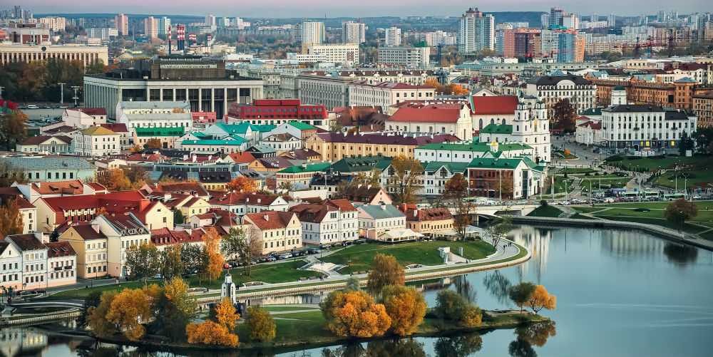 Panoramic view of the historical center of Minsk, Belarus