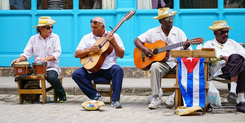 EDITORIAL ONLY Street musicians in the old town, Havana, Cuba